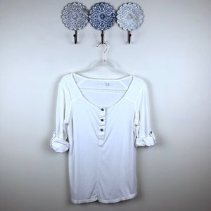 7 For All Mankind White Roll Tab Long Sleeve Tee S